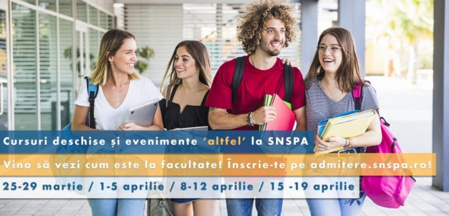 Imagine cu tineri veseli scoala altfel SNSPA 2019